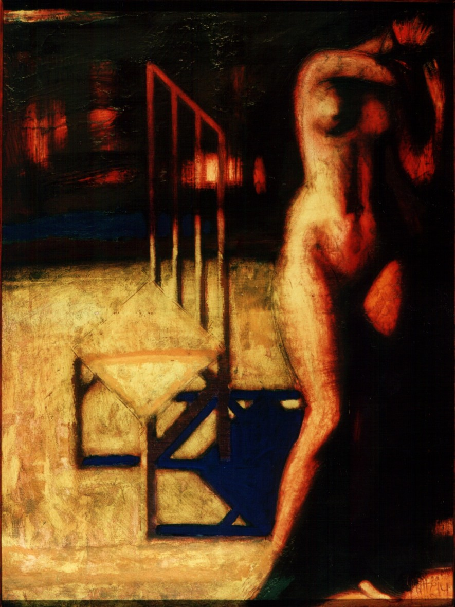 Girl with chair 2001 oil canvas 130x97