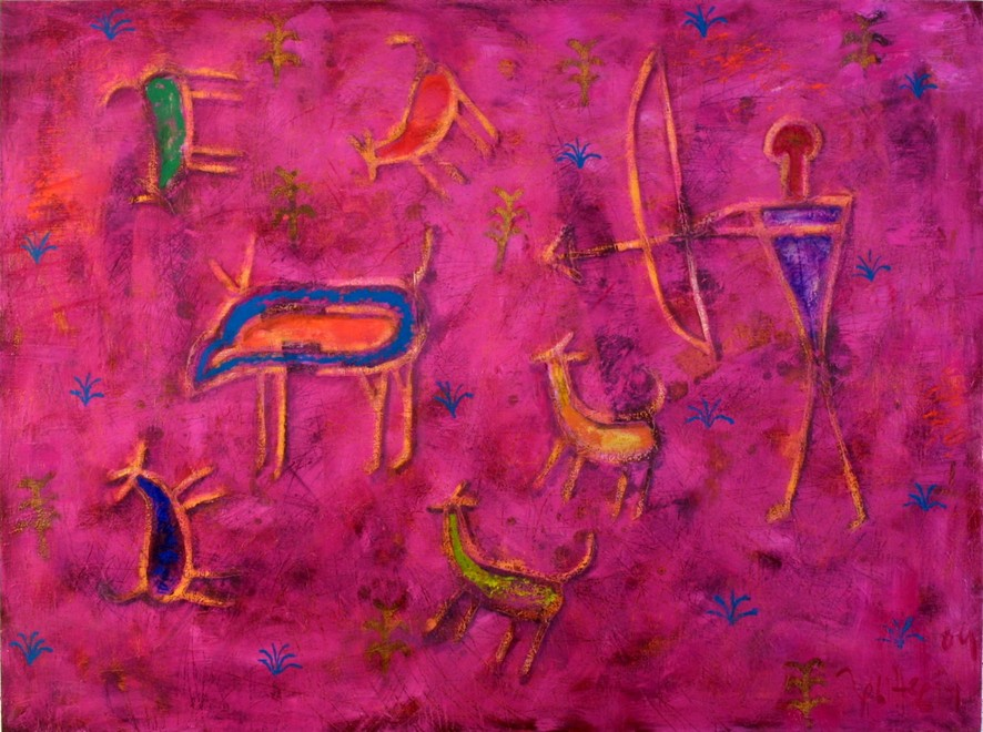 Hanting with dogs 2004 oil canvas 97x130