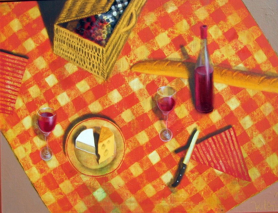 Picnic on the sand oil canvas 89x116