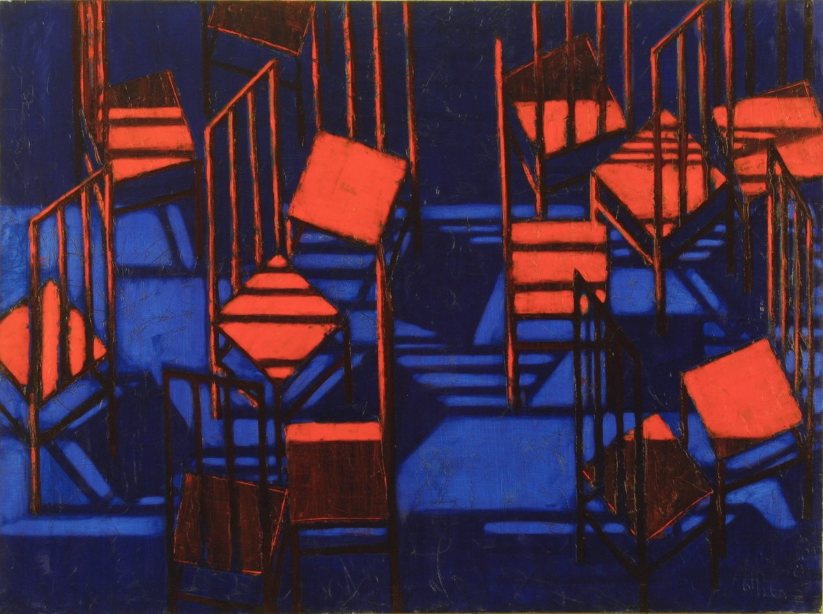 Red chairs 2001 oil canvas 97x130