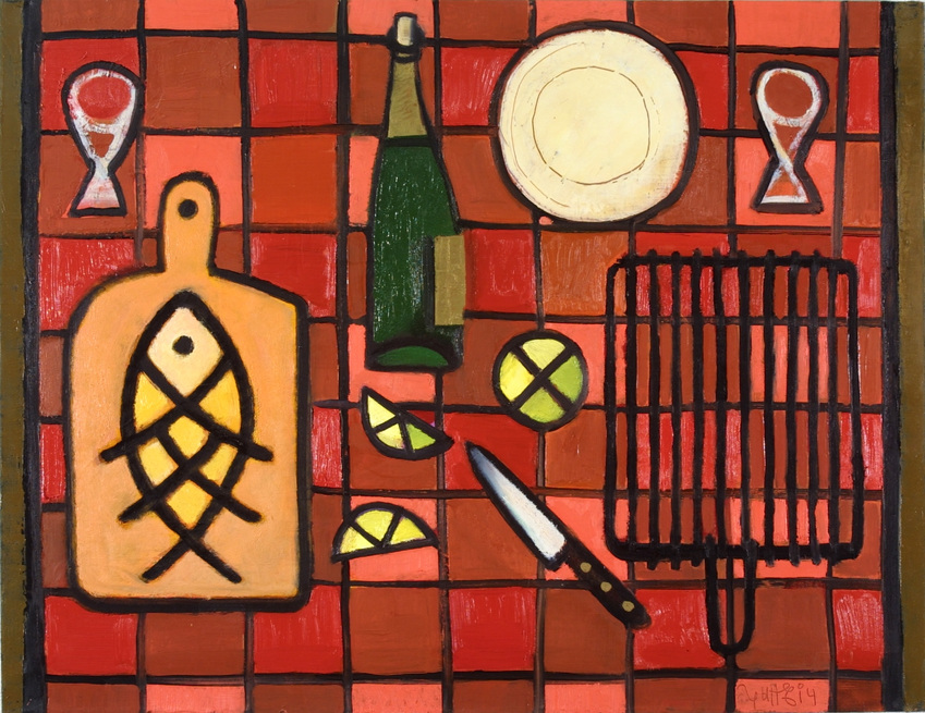 Steel life with fish 2005 oil canvas 73x92