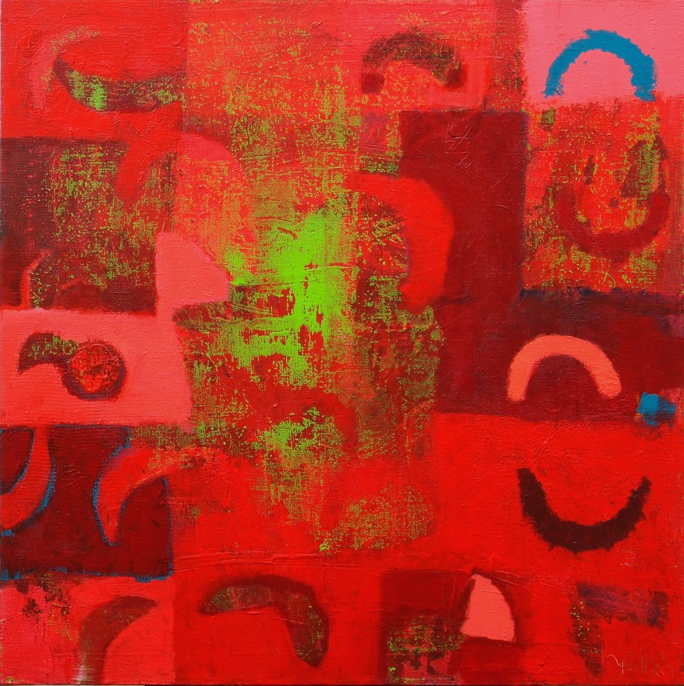 Red abstraction 1 2008 acrylic canvas 100x100