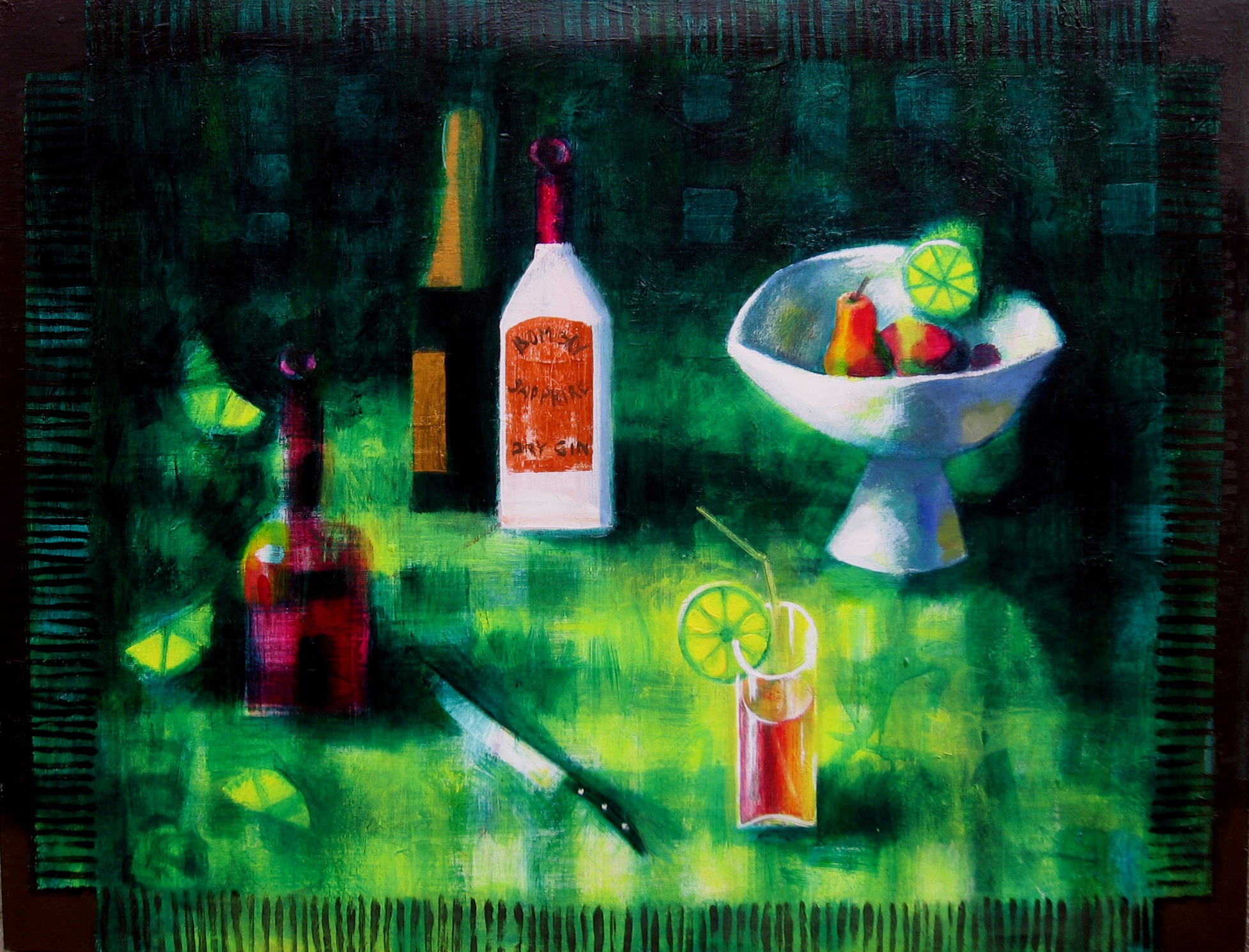 Steel life with coctail 2007 acrylic canvas 89x116