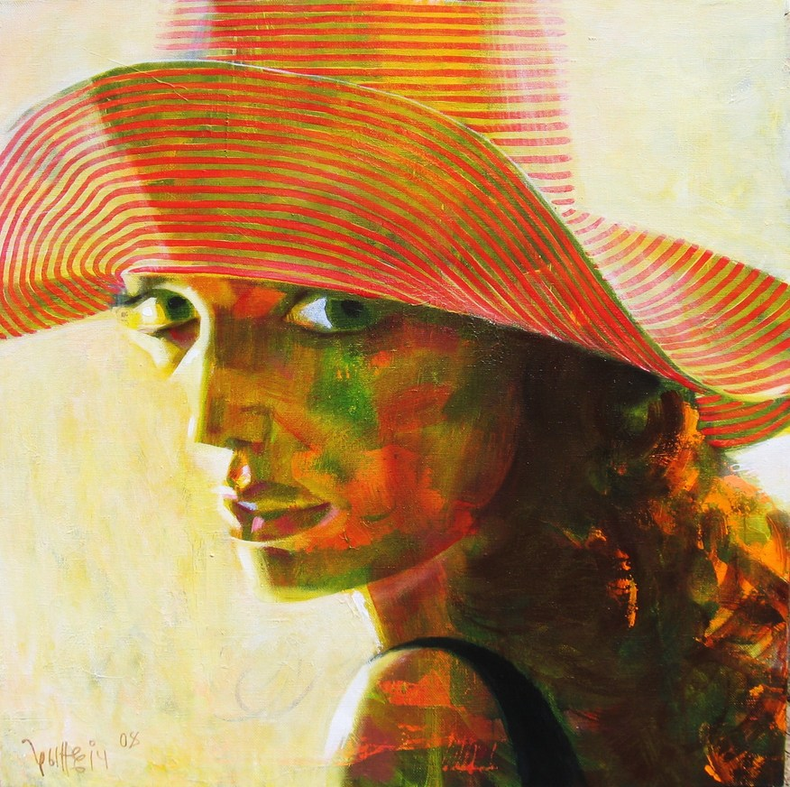 Woman in hat 2008 acrylic canvas 100x100